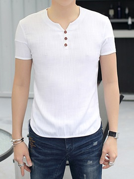 Solid Color Casual Mens Short Sleeve Tee
