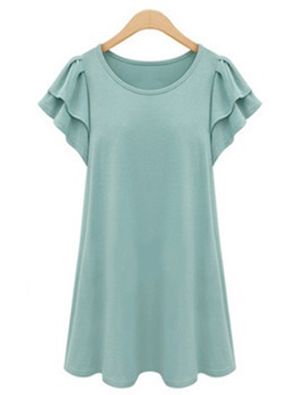 Casual Ruffle Sleeves Slim T Shirt