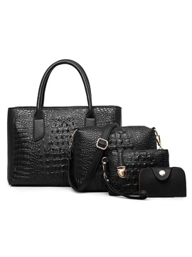 Vintage Croco Embossed Womens Bag Set Four Bags