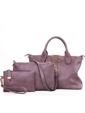 Chain Decorated Pure Color Womens Bag Set Three Bags