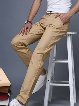 Plain Zipper Straight Mens Casual Pants