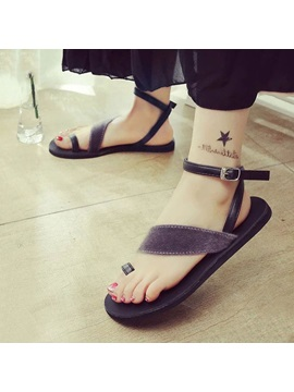 Suede Ring Toe Flat Sandals