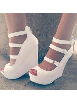 White Peep Toe Buckles Wedge Sandals