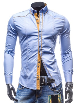Color Block Casual Mens Cotton Blends Shirt