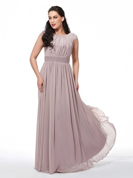 Scoop Neck Pleats Beading Cap Sleeves Long Plus Size Evening Dress
