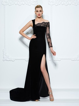 Long Sleeve Split Front Black Lace Evening Dress