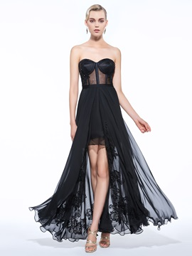 Sexy Strapless Appliques Split Front Black Evening Dress