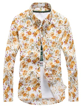 Cotton Blends Floral Mens Long Sleeve Shirt