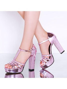 Chic Sequins T Strap Chunky Heel Sandals