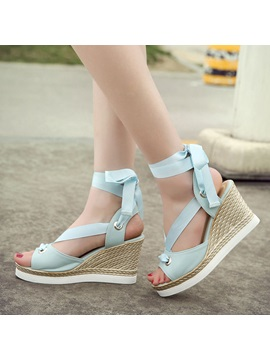 Solid Color Pu Lace Up Wedge Sandals