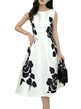 Floral Print Sleeveless Womens A Line Day Dress