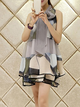Print Lace Up A Line Casual Dress