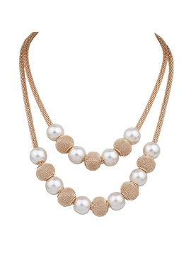 European Double Layer Circle Balls Pearls Necklace