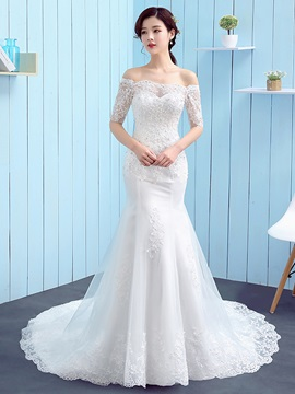 Ideal Half Sleeves Off The Shoulder Appliques Mermaid Wedding Dress