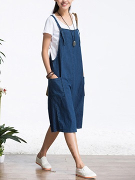 Simple Pocket Wide Leg Overall