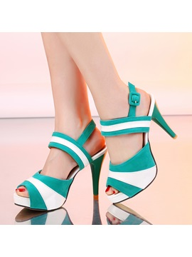 Color Block Platform Peep Toe Sandals