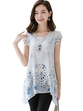 Stylish Hollow Pattern Hem Chiffon Blouse