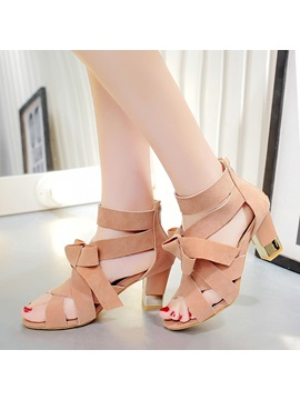 Solid Color Pu Chunky Heel Roman Sandals