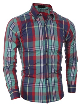 Plaid Casual Linen Blends Mens Long Sleeve Shirt