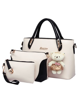 Sweet Color Cute Pendant Decorated Womens Bag Set Three Bags