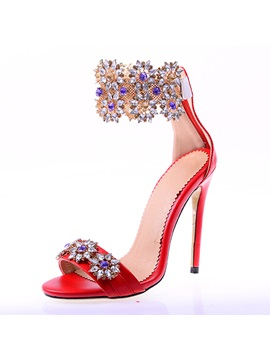 Luxury Rhinestone Back Zip Stiletto Heel Sandals