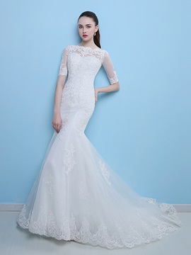 Appliques Button Mermaid Wedding Dress With Half Sleeves