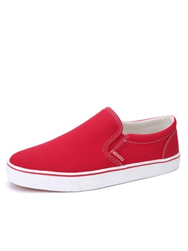 Thread Round Toe Slip On Canvas Shoes