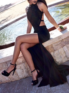 Sexy Halter Appliques Backless Black Evening Dress