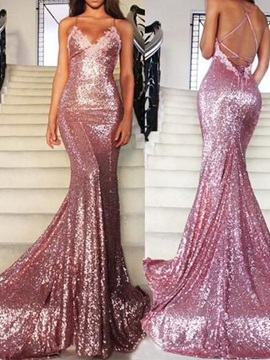 Shining Spaghetti Straps Appliques Sequins Pageant Dress