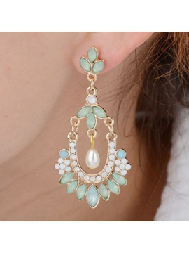 Pearl Gemstones Decorated Women Earrings
