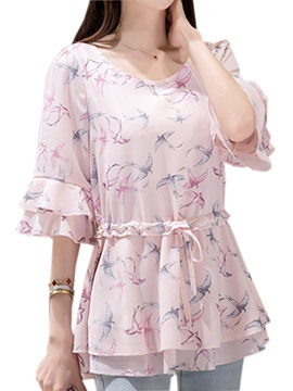 Ladylike Double Layer Cuff Floral Printed Blouse