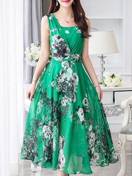 Floral Print Sleeveless Slim Day Dress