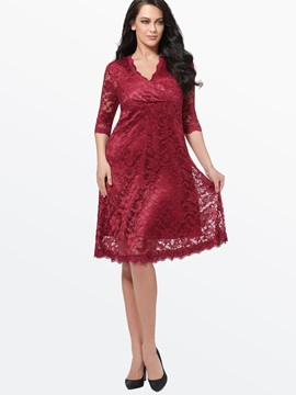 Plain V Neck 3 4 Sleeve Plus Size Womens Lace Dress