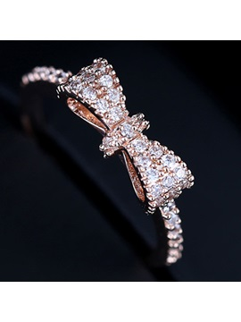 Classic Bowknot Shaped Rhinestones All Matching Ring