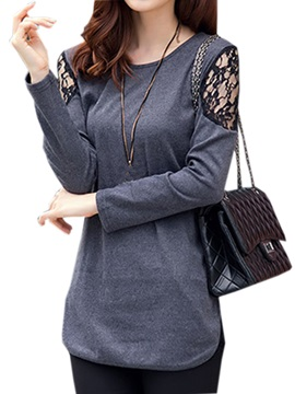 Casual Lace Decoration Sleeves T Shirt