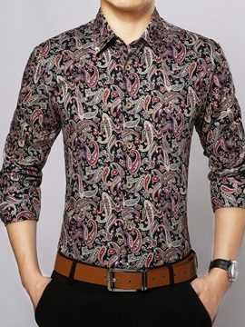 Floral Printed Slim Fit Mens Cotton Blends Shirt