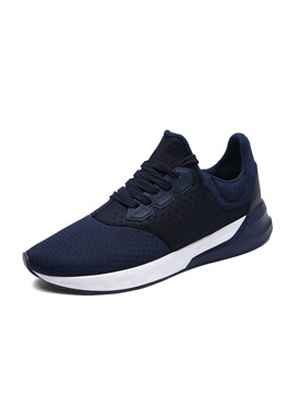 Breathable Mesh Round Toe Lace Up Sport Shoes