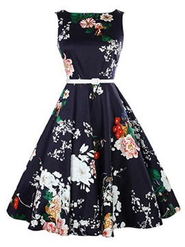 Chic Floral Print Sleeveless Slim Skater Dress