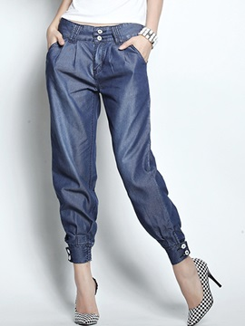 Chic Ruched Hem Buttoned Jean