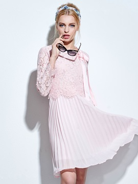Vintage Lace Atchwork Pleated Day Dress