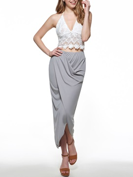 Elegant Lace Backless Top Asymmetric Skirt Suits
