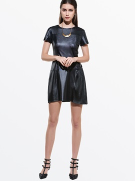Plain Short Sleeve Pu Day Dress