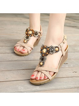 Boho Style Open Toe Wedge Sandals