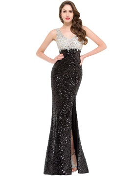 Luxurious V Neck Crystal Split Front Sequins Evening Dress