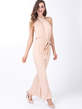 Rose Quartz Bowknot Pleated Halter Jumpsuit