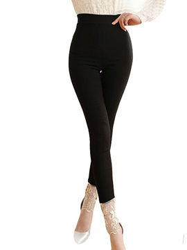 Slim Lace Solid Color Womens Leggings