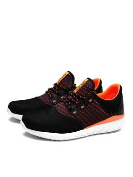Contrast Color Mesh Lace Up Mens Sport Shoes
