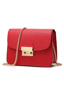 Pure Color Latch Decorated Womens Shoulder Bag