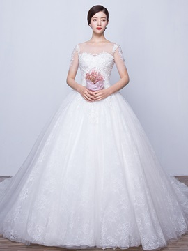 Illusion Neck Ball Gown Wedding Dress With Sleeves