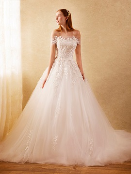 Off The Shoulder Appliques Tulle Wedding Dress